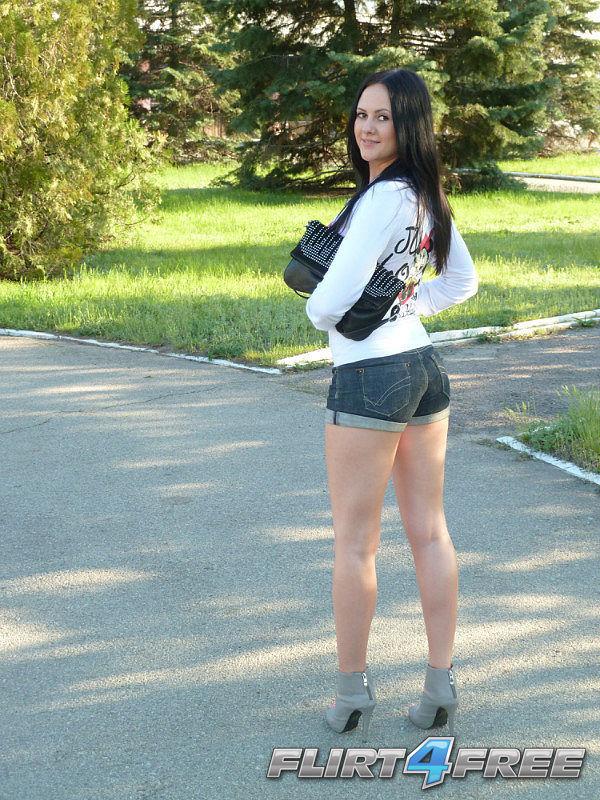 Beverley Sue from Flirt4Free in tiny denim shorts