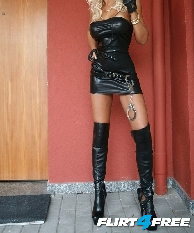 Emanuel Ella from Flirt4Free in leather outfit with boots