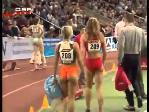 Sports commentator gets a little excited by hot runner's ass LOL