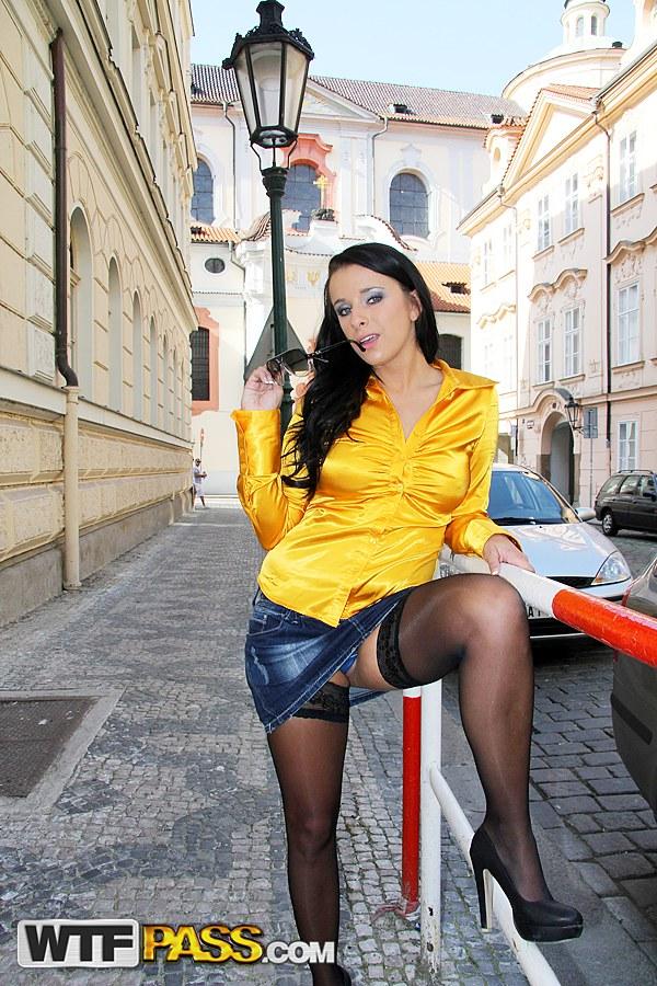 upskirt pic of Kirsten Plant flashing her panties in Prague street   Public Sex Adventures