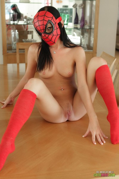 Catie Minx as naked Spider-Man