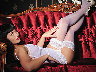 Pandora Susie from Flirt4Free in lace lingerie & stockings