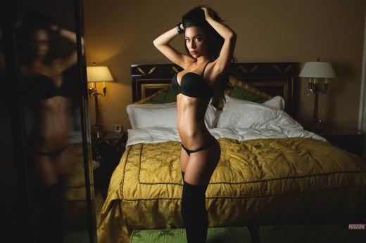 hot brunette in black lingerie & stockings | Mavrin
