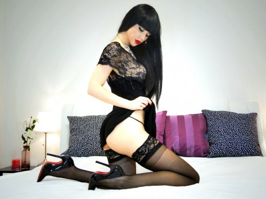 TheMysteryLady aka littlebusybee in sheer top & stockings