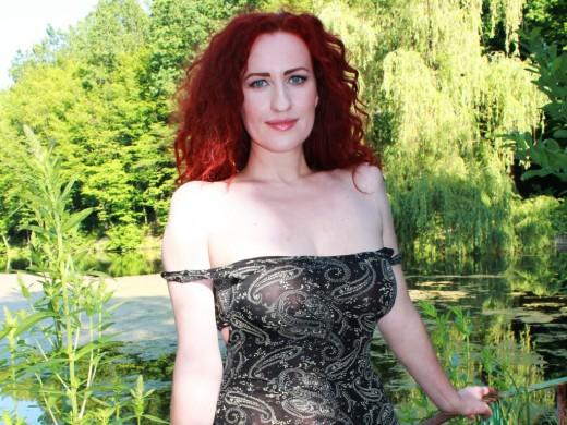 curly redhead Simplywoman aka Redfox in sheer top