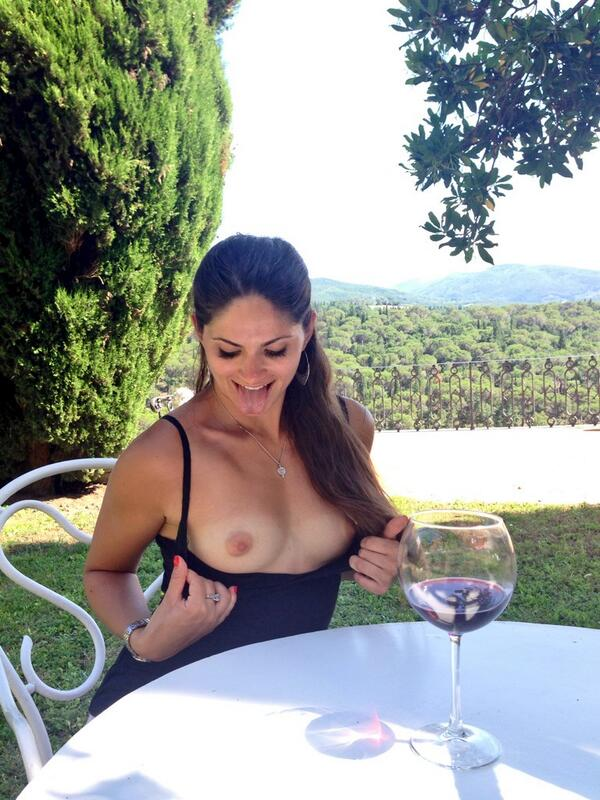 Aspen Rae flashing her tan lined boobs at a wine tasting