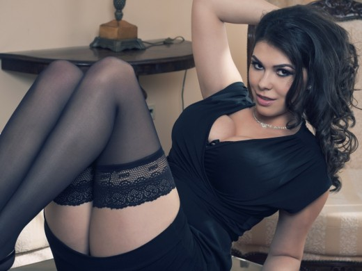 bigNINFOboobs Dotty in little black dress & stockings