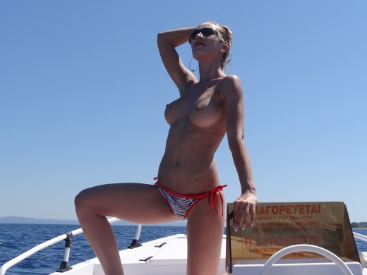 topless MFC Edel_ on a boat