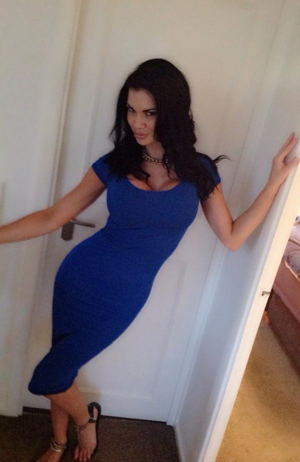 Jasmine Jae in tight blue dress