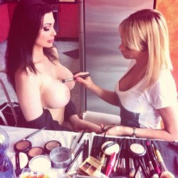 Aletta Ocean gets make up done on her boobs