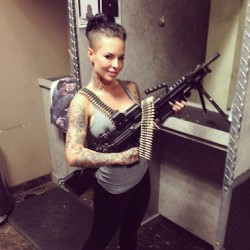 Christy Mack with big machine gun at the shooting range