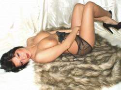 topless MiaGreat in fishnet lingerie