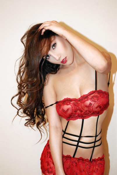 KElixa_ from MyFreeCams wearing red sheer lace lingerie
