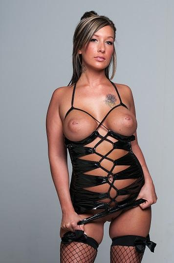 KaciKash from MyFreeCams in super slutty mini dress & fishnets