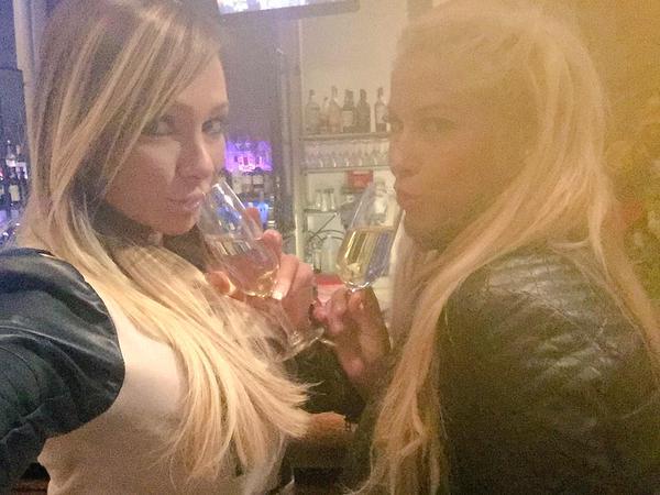 pornstars Destiny Dixon & Bridgette B having drinks