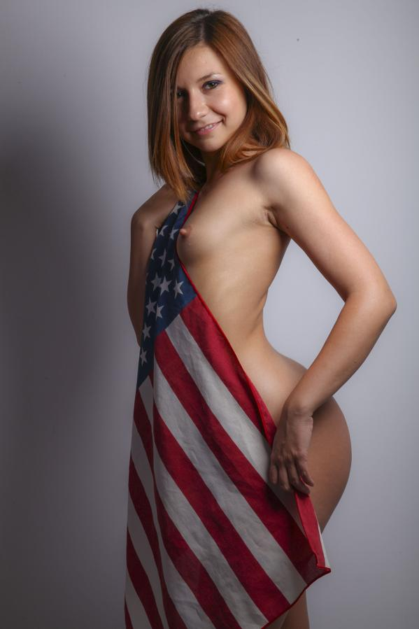 nude LiveJasmin camgirl 1to1HornyCandy draped in American flag