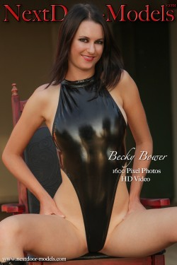 Becky Bower wearing a black shiny high cut one piece swimsuit | Nextdoor-Models