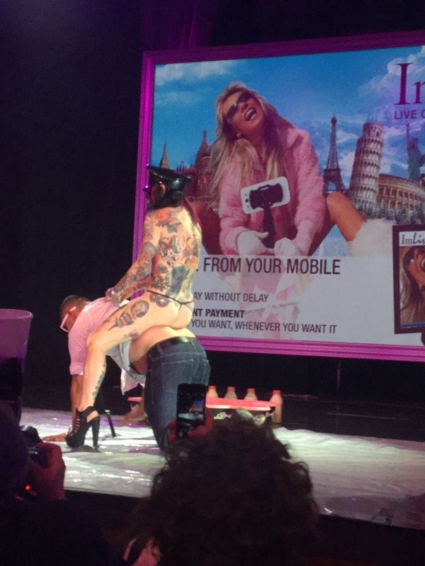 Joanna Angel riding guy on convention stage