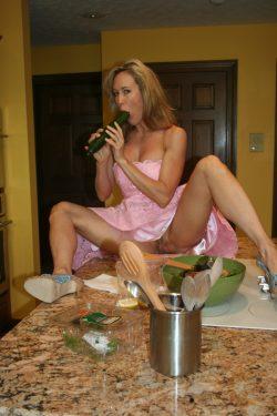 upskirt byBrandi Love while she sucks on cucumber