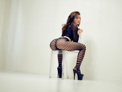 camgirl KarinASS wearing black striped pantyhose