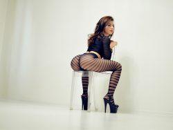 camgirlKarinASS wearing black striped pantyhose