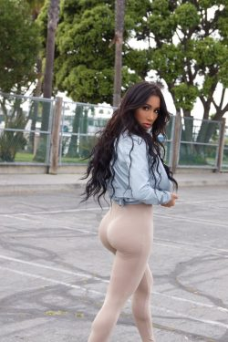 Amia Miley in skintight pants