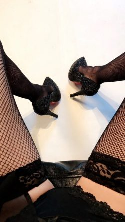 Piper Perri in black panties, heels & fishnet stockings