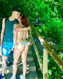 Ariel Winter in G-string bikini kissing BF