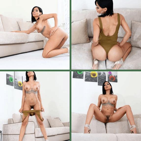 inked latinaCanela Skin poses nude