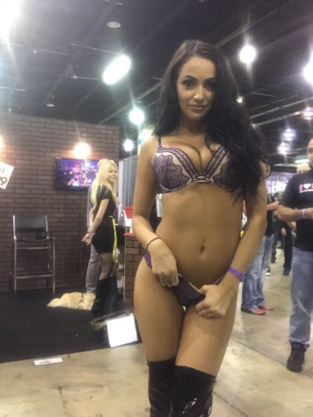 Sofi Ryan in lingerie & leather boots at erotic expo