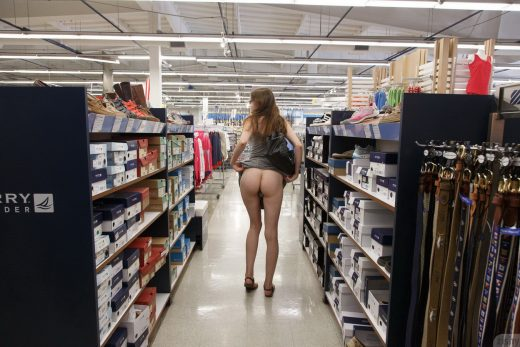 Patience Dolder flashes ass in shop |