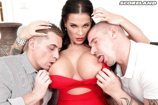 2 guys licking Sandra Sturm's nipples | Scoreland