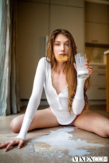 Elena Koshka gets messy with milk | Vixen