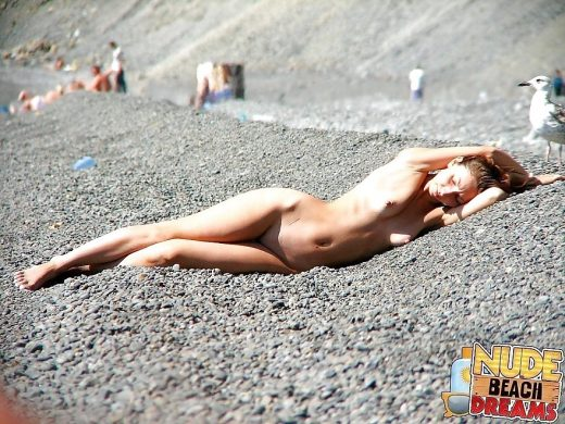 girl sunbathing totally naked on stone beach