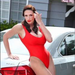 Lana Kendrick in red one piece swimsuit | PinupFiles