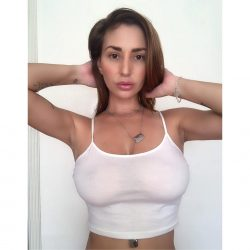 Shay Laren in tight slightly sheer white top