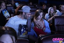 Sydney Cole flashes boob in cinema