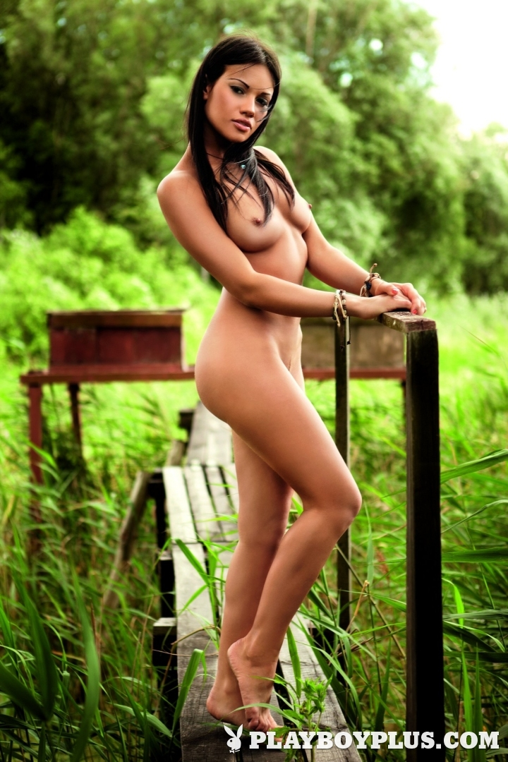 Playboy Poland Playmate of the Month March 2013 Daria Cybulska poses naked outdoors