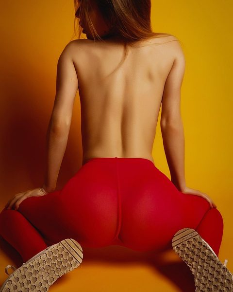 Alexsandra Smelova in red yoga pants