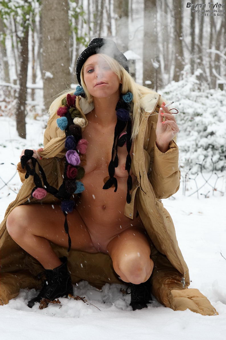 nude Brynn Tyler smoking in snowy woods | ALSangels