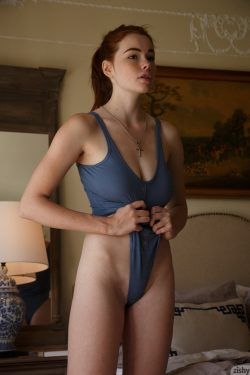 Sabrina Lynn in blue leotard | Zishy