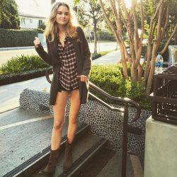 celebrityVirginia Gardner shows her sexy legs