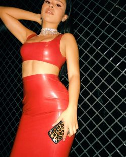 Cierra Ramirez in sexy red latex dress