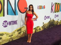 TV Host Danielle Robay in red dress on red carpet