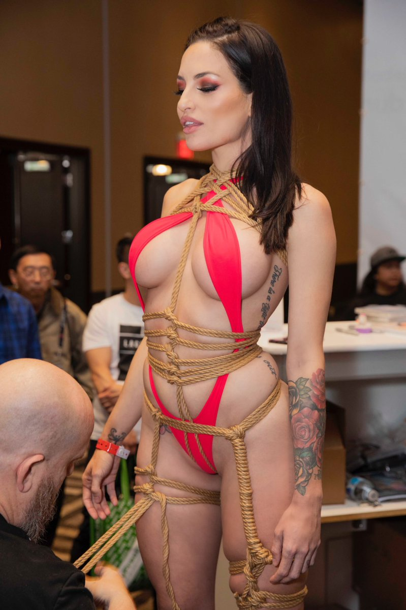 Kissa Sins in rope bondage at AVN Expo 2019