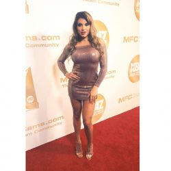 Mercedes Carrera in tight mini dress on red carpet