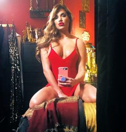 selfie by latina MILF Mercedes Carrera in red mini dress