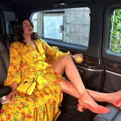Priyanka Chopra Jonas shows off her sexy legs inside car