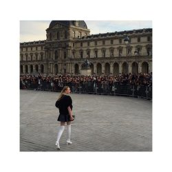 Sophie Turner at the Louvre in thigh high boots