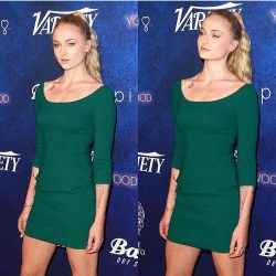 Sophie Turner in green mini dress on red carpet